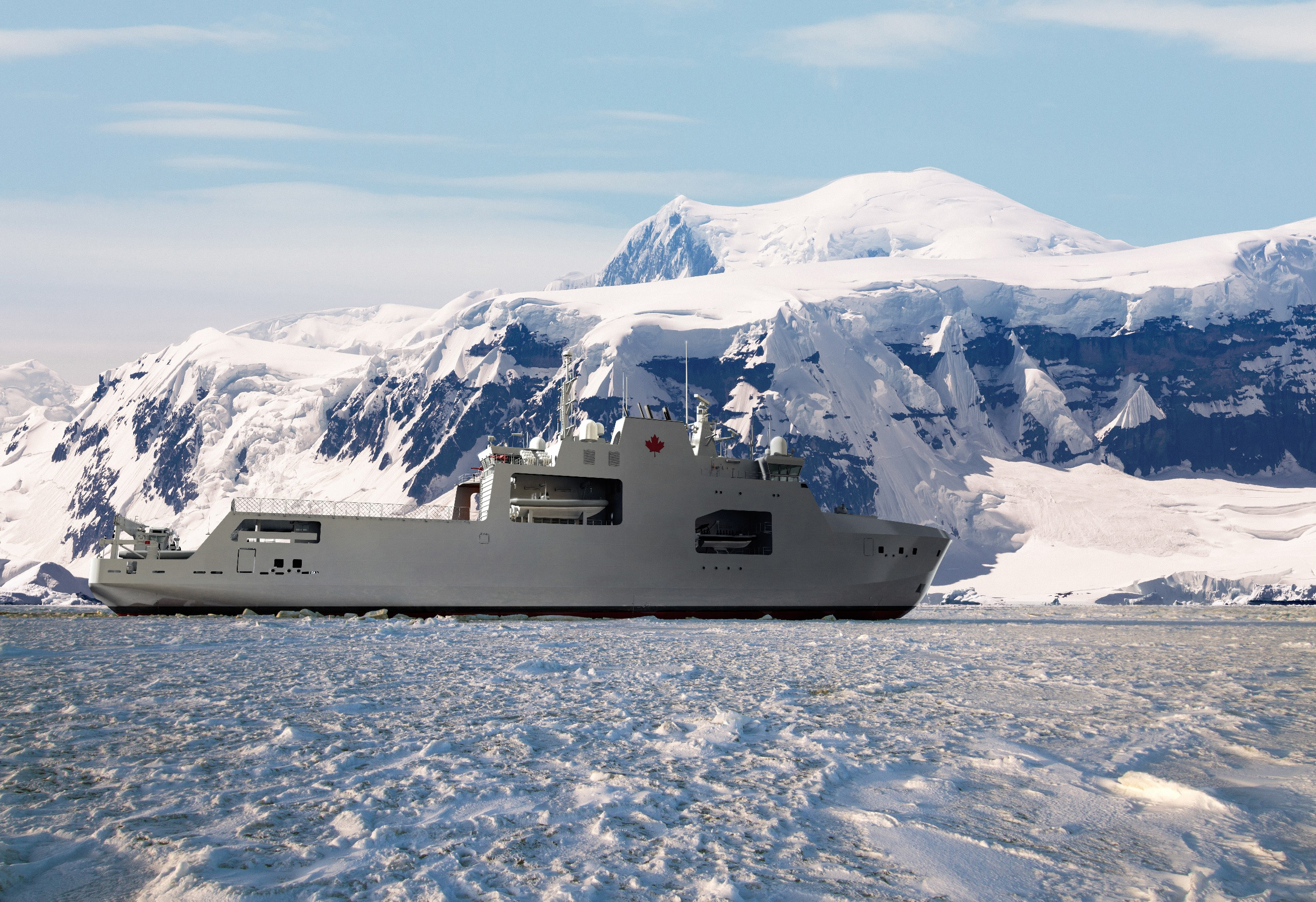 Slide - Artist's impression of the Harry Dewolf-Class Arctic and Offshore Patrol Vessel