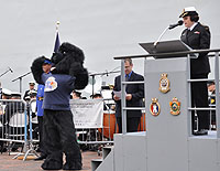 Unveiling of the new Navy Mascot at the Rendez-vous naval de Québec opening ceremony  Photo: Lt(N) Vance Gough