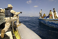 While patrolling off the coast of Somalia in the Gulf of Aden, HMCS CHARLOTTETOWN came across stranded Somali fisherman who ran out of fuel, water and food.  After rendering them assistance with there needed commodities, the fisherman were on their way.      Photo: Cpl Robert LeBlanc