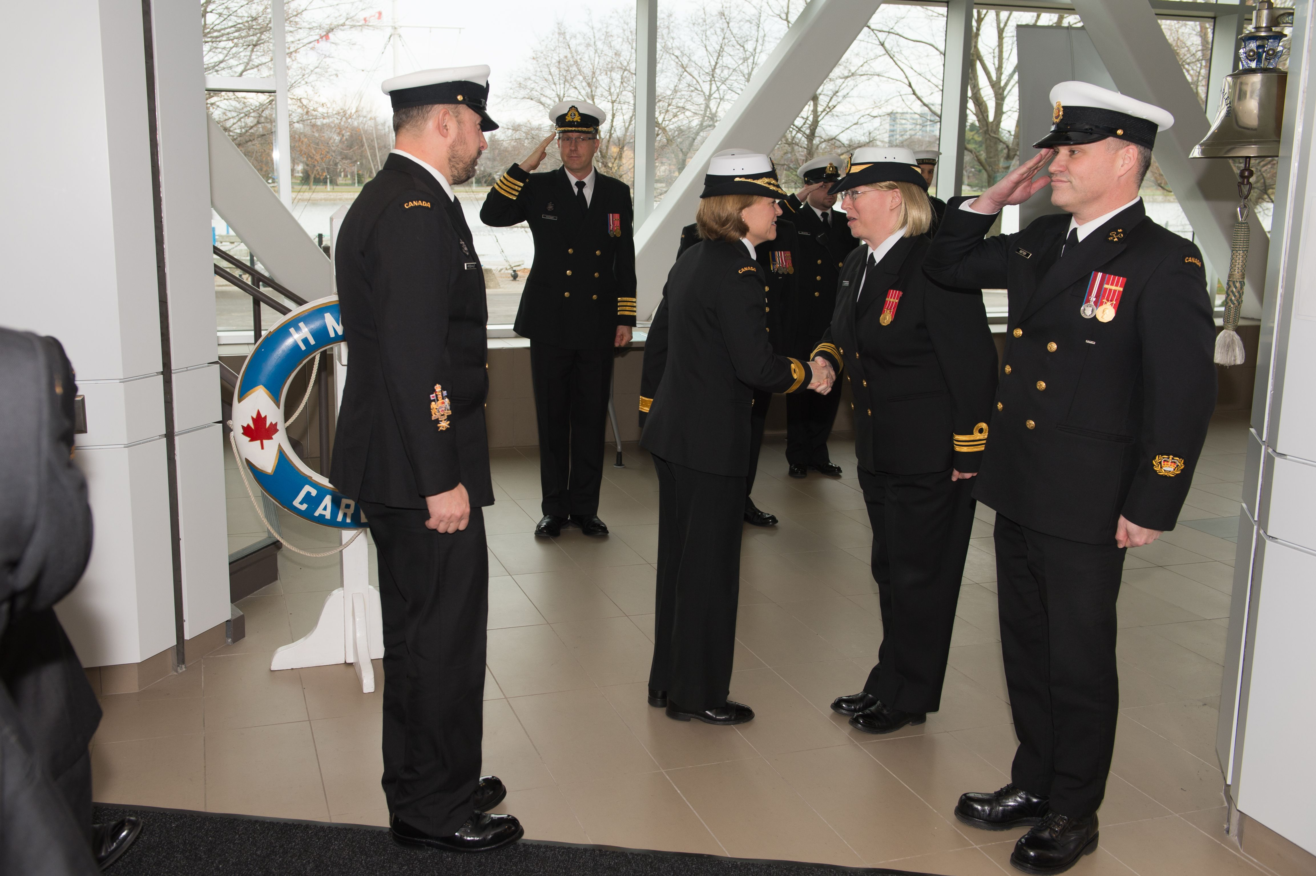 Commodore Marta Mulkins is welcomed by the commanding officer of HMCS Carleton, LCdr Carmen Lapointe, for the inauguration.