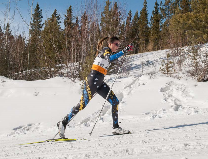 NCdt Camille Hamm competing at Haywood Ski Nationals held in Whitehorse, in March, 2016.
