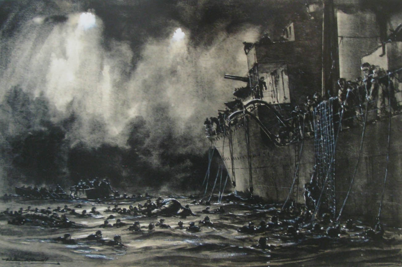 Painting of HMCS Haida rescuing sailors thrown overboard during the torpedoing of HMCS Athabaskan in 1944.