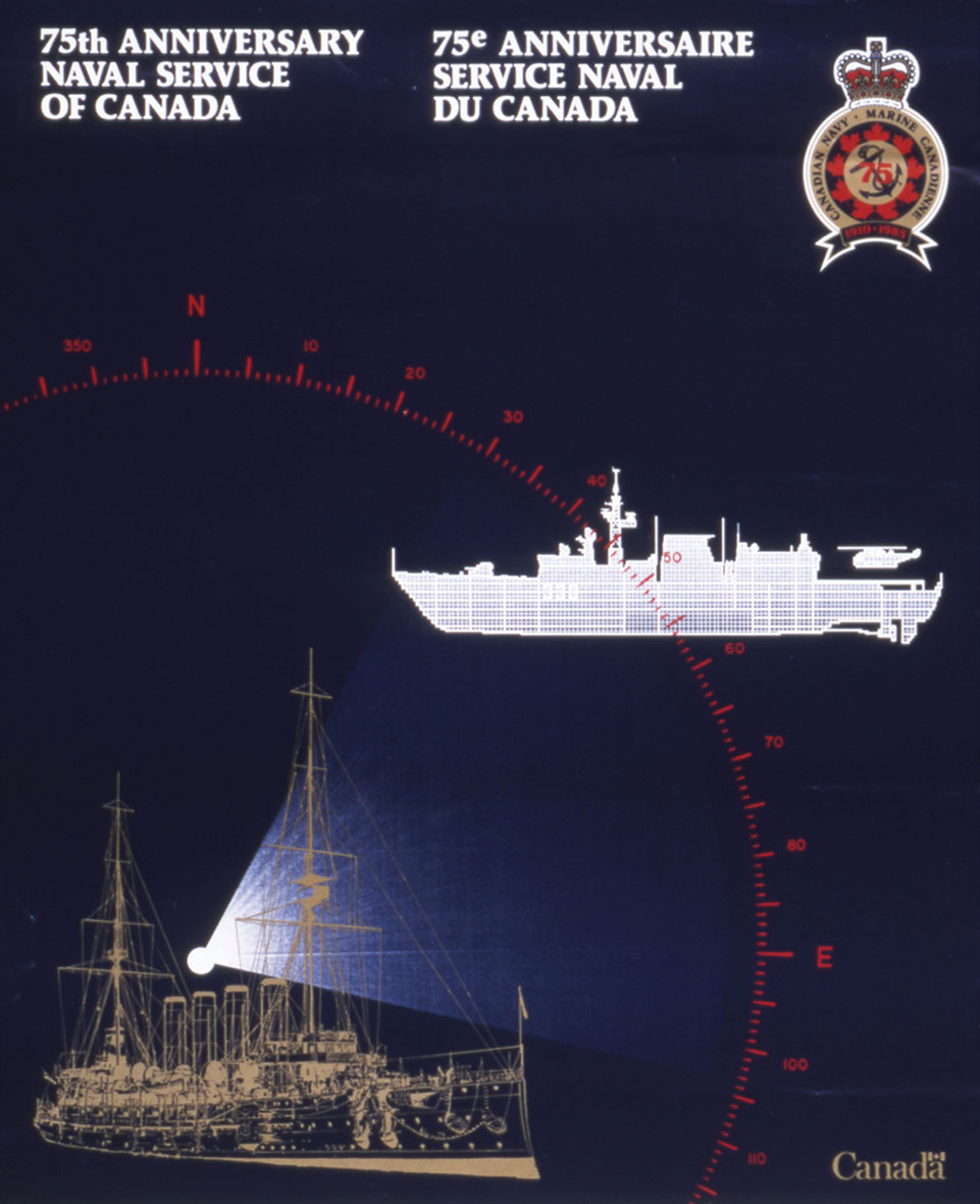 Poster for the Canadian Navy's 75th anniversary, 1985.