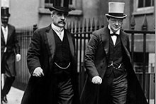 Prime Minister Robert Borden leaving the Admiralty with First Lord Winston Churchill, July 1912.