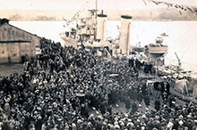 The commissioning of HMCS Fraser at Chatham, United Kingdom, on her transfer from the Royal Navy, 17 February 1937.