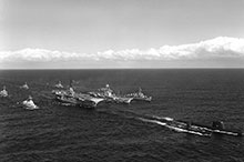 The fleet that wasn't: this June 1961 view of a combined USN-RCN Task Force has much of the navy's ambition on display, including in the right foreground a nuclear attack submarine (USS Triton) and, in the second line to left of Bonaventure, the carrier USS Essex.