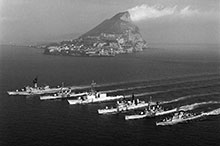STANAVFORLANT ships in formation off the Rock of Gibraltar, with the flagship destroyer Iroquois in the centre, February 1979; just to the right (her port side) is the British destroyer HMS Sheffield, which would be lost three years later in the Falklands War.