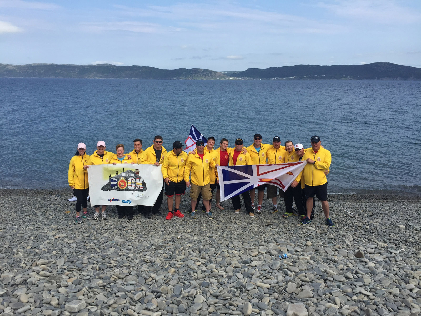 Sailors from HMCS St. John's kick off Run the Rock in Port aux Basques, NL, in 2015.