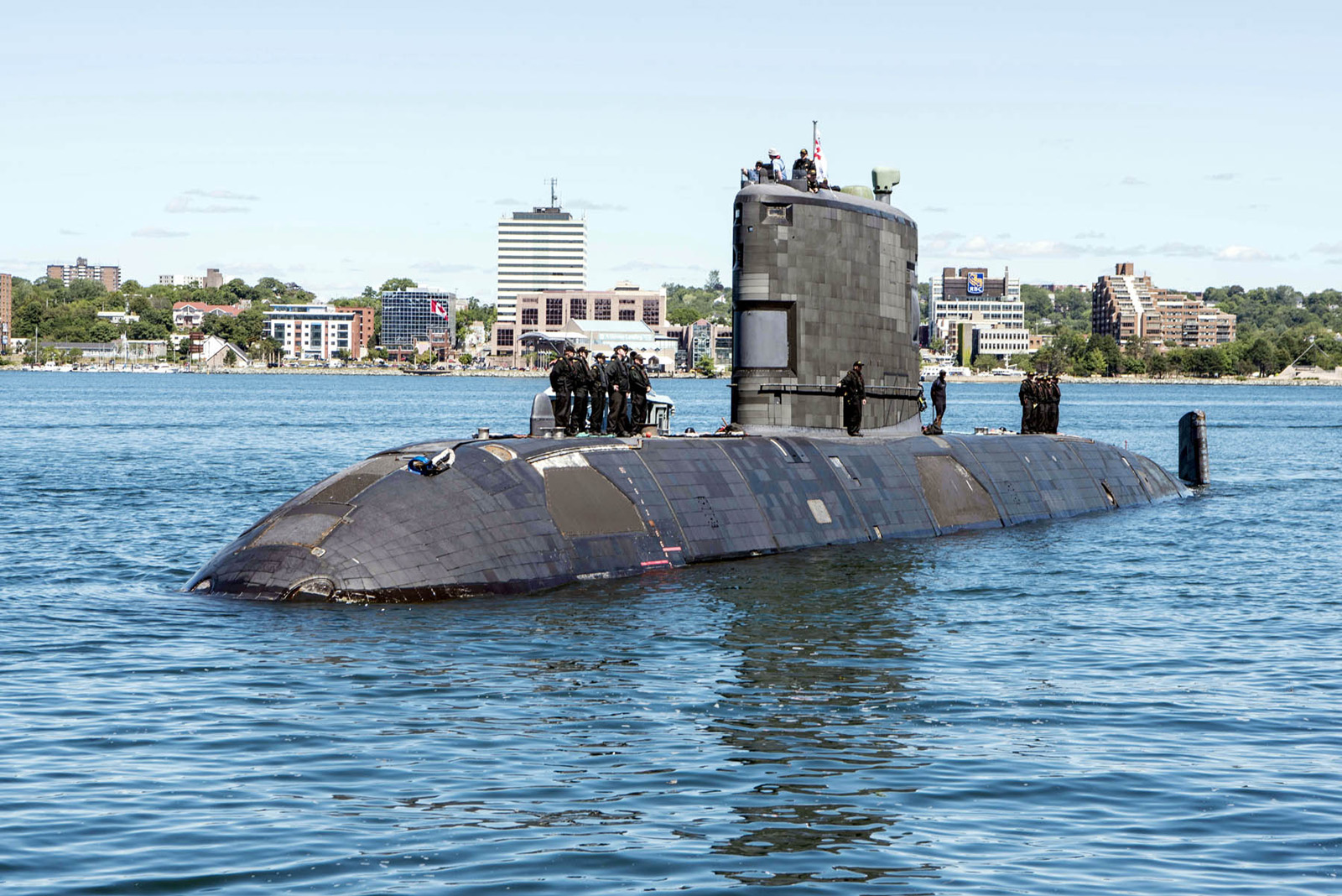 HMCS Windsor returns to Halifax after being re-tasked during a NATO exercise.