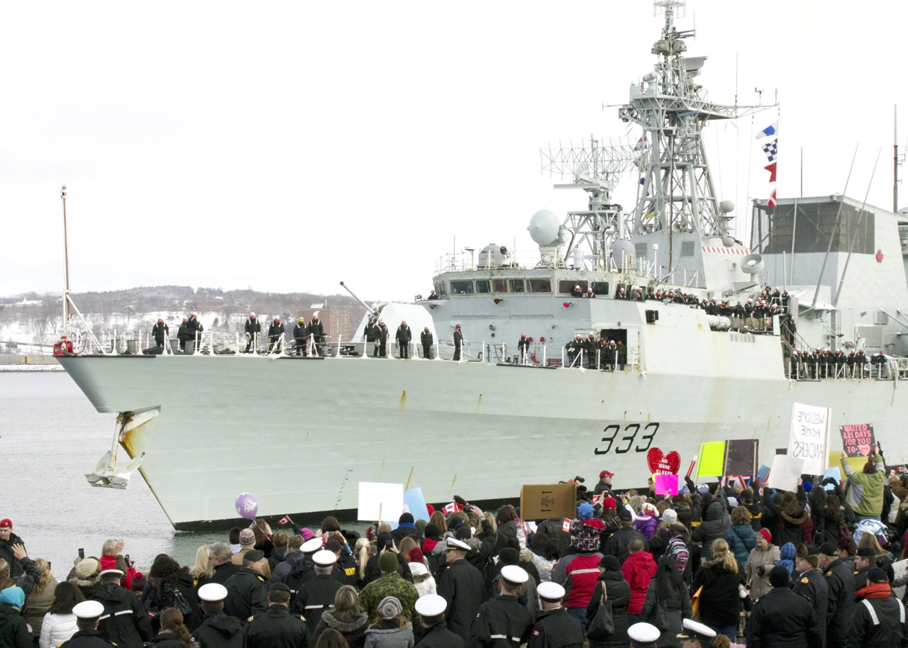 HMCS Toronto is greeted by family and friends in Halifax as the frigate returns