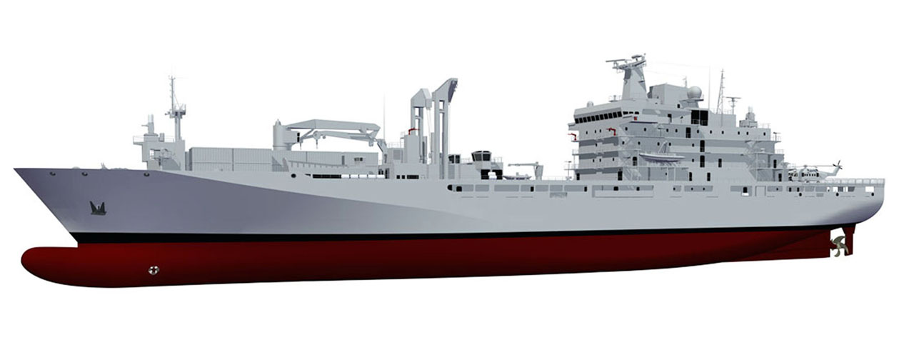 An artist rendering of the definition design for the new Joint Support Ships.