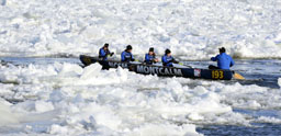 Sailors from Naval Reserve Division HMCS Montcalm's canoe team participate in the annual Carnaval de Québec canoe race, making their way through ice and water on the St. Lawrence River near Québec City February 8. Each year, several courageous teams compete with one another during a tumultuous ride along the St. Lawrence River between Québec City and Lévis.
