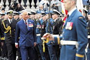 His Royal Highness, the Prince of Wales, reviews a Guard of Honour comprised of Canadian Armed Forces units from the Halifax area during the official welcome of the Prince of Wales and the Duchess of Cornwall to Canada on May 19, 2014. Photo: WO Jerry Kean