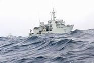 Op Caribbe – HMCS Nanaimo (foreground) and HMCS Whitehorse conduct manoeuvrability exercises off the northern coast of California during their transit south to participate in Operation Caribbe. Op Caribbe is Canada's participation in the multinational campaign against illicit trafficking by transnational organized crime in the Caribbean basin and the eastern Pacific Ocean. Whitehorse was instrumental in the seizure of drugs in two separate incidents in the Eastern Pacific Ocean in March. Photo: Cpl Blaine Sewell