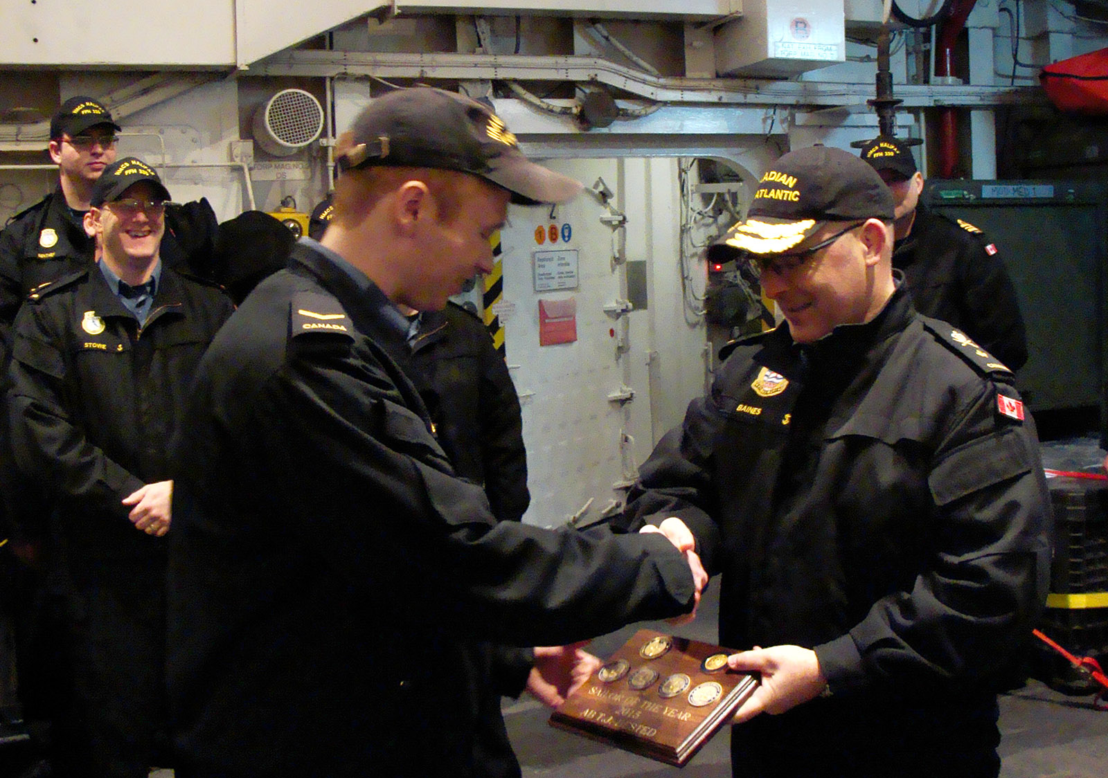 Commodore Craig Baines and Leading Seaman Tyler Bested