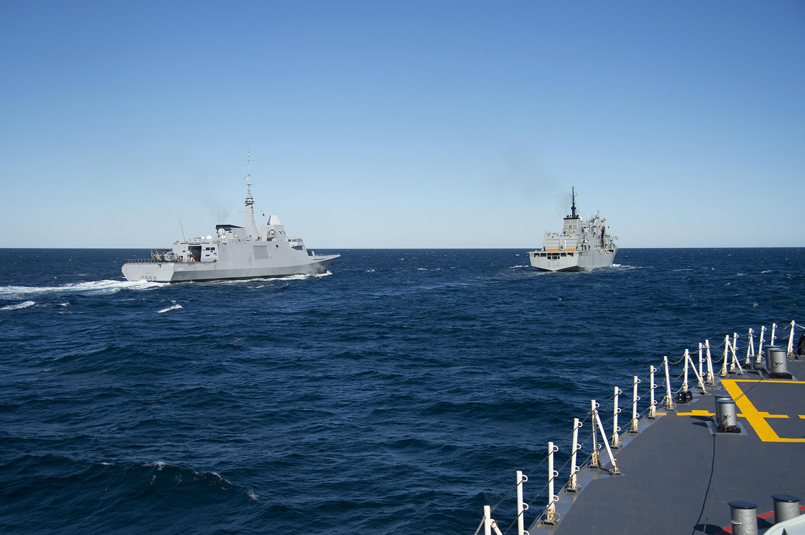 Ships participating in EX CUTLASS FURY 2016, make Replenishment at Sea (RAS) approaches during the multi-national exercise off the coast of Nova Scotia