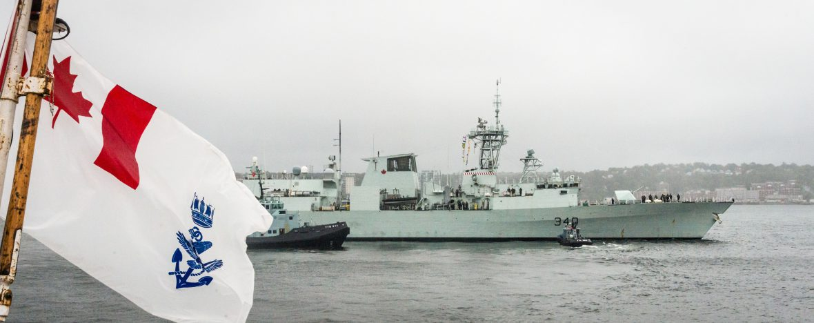 Her Majesty's Canadian Ship (HMCS) St John's departs Halifax N.S. to provide assistance to damaged areas by Hurricane Irma, on September 07, 2017.
