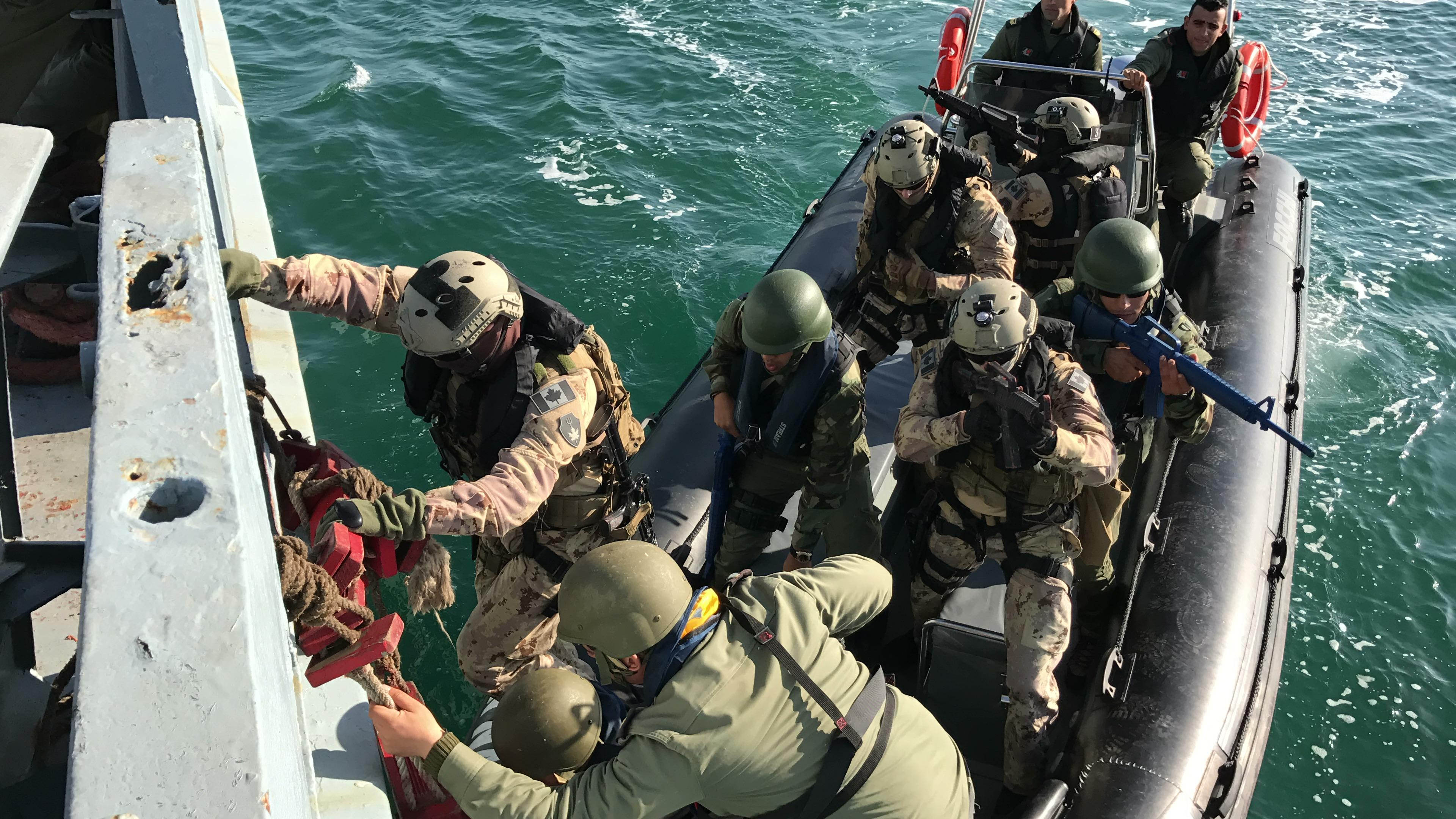 The Royal Canadian Navy's Maritime Tactical Operations Group (MTOG) conducts training alongside the 51st and 52nd Regiments Commandos Marines (RCM) of the Tunisian Navy in Bizerte, Tunisia.