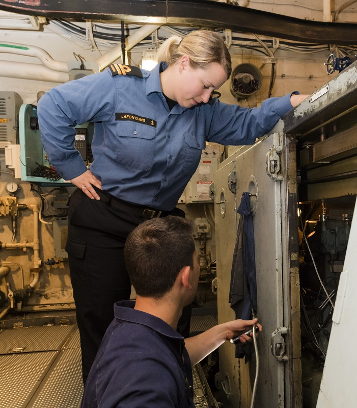 Lieutenant (Navy) Teri Lafontaine is a Marine Systems Engineering Officer aboard HMCS Montréal and hails from Crowsnest Pass, Alberta