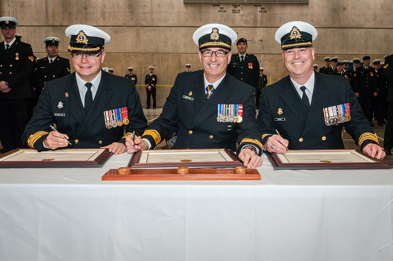 CFB Halifax Change of Command Ceremony – Left to right: Captain (N) Chris Sutherland, Rear-Admiral John Newton, Commander, Maritime Forces Atlantic and new Base Commander, Captain (N) Paul Forget