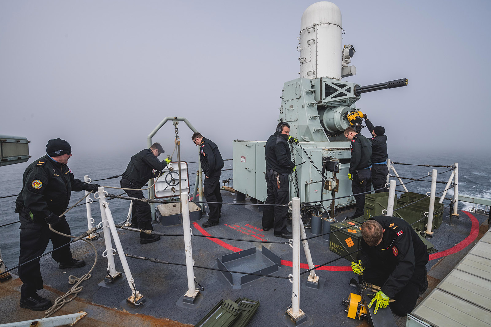 The Combat Systems Engineering department loads the Close-In Weapons System onboard HMCS Ottawa who is deployed on OPERATIONS PROJECTION and NEON on August 13 2019.