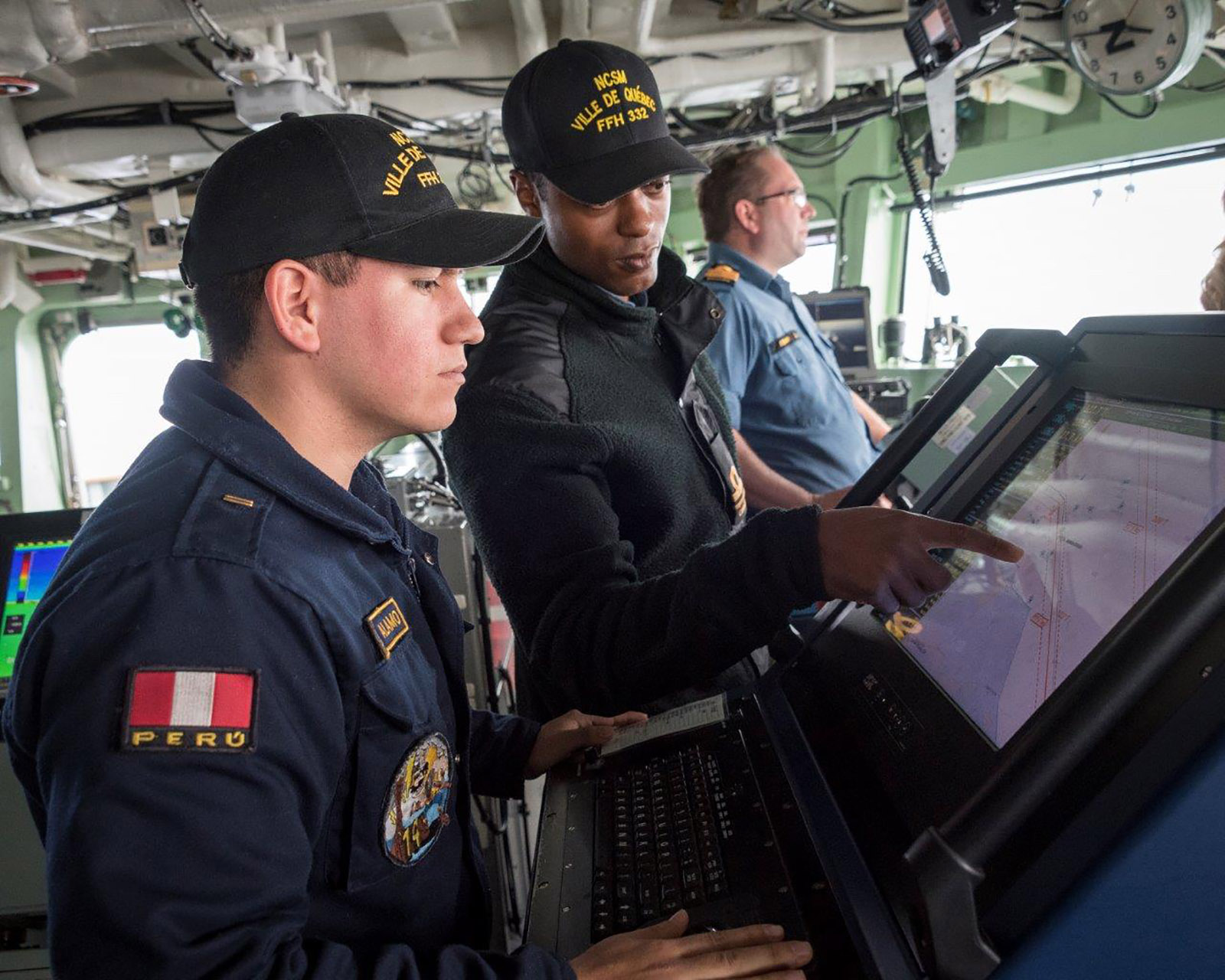 Sub-Lieutenant Connor Parris aboard HMCS Ville de Québec perform duties in support of Arctic Operations 2019 following departure from Pond Inlet, Nunavut.